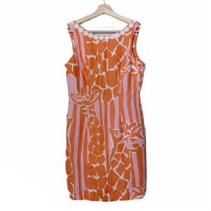 Lilly Pulitzer For Target Linen Giraffe Dress US 2